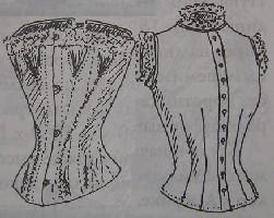 Лиф-чехол (справа) и корсет (слева), 1892 г.